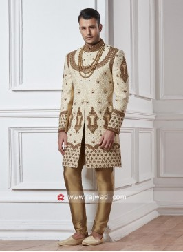 Zardozi and Pearl Work Sherwani For Wedding