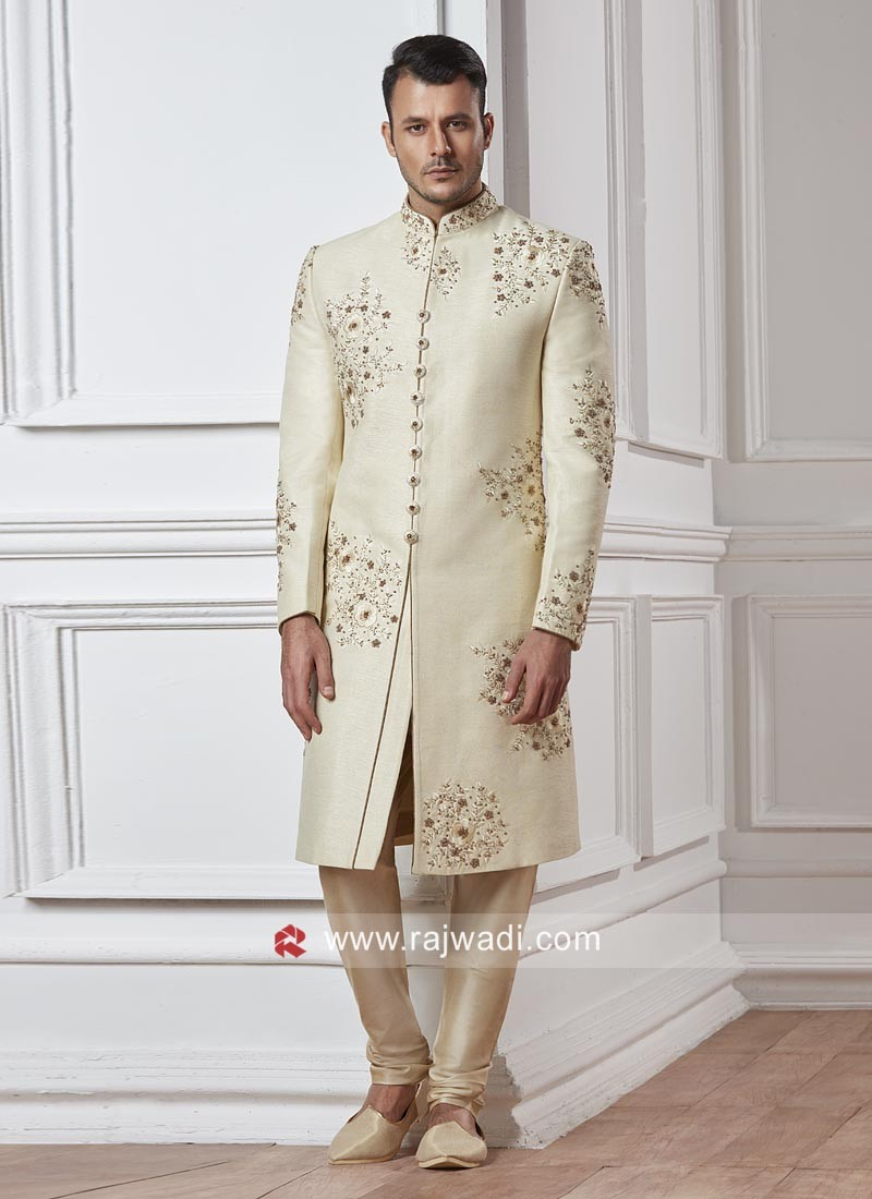 Resham and Zari Work Sherwani For Wedding
