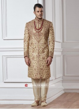 Designer Groom Sherwani In Golden