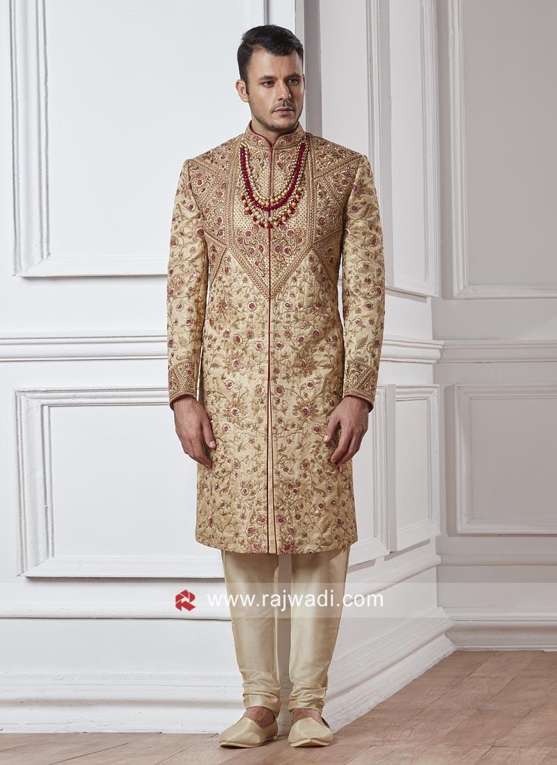 Designer Groom Sherwani In Golden