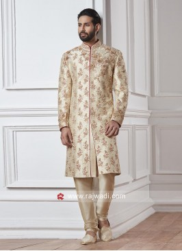 Golden Cream Zardozi Work Sherwani