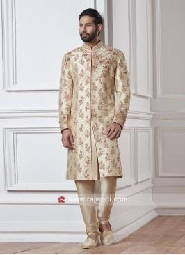 Golden Cream Zardozi Work Sherwani