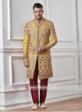 Stylish Groom Yellow Color Sherwani