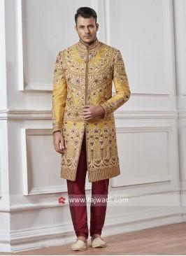 Stylish Groom Yellow Color Sherwani