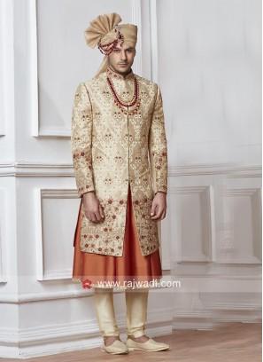 Anarkali Style Silk Fabric Sherwani