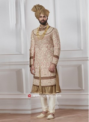 Attractive Groom Peach Color Sherwani