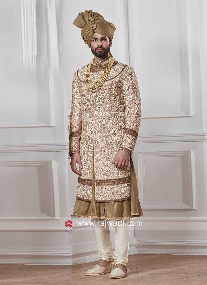 Attractive Groom Peach Color Sherwani