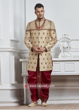 Silk Groom Sherwani with Zardozi Work