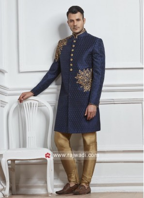 Navy Brocade Silk Fabric Indo Western