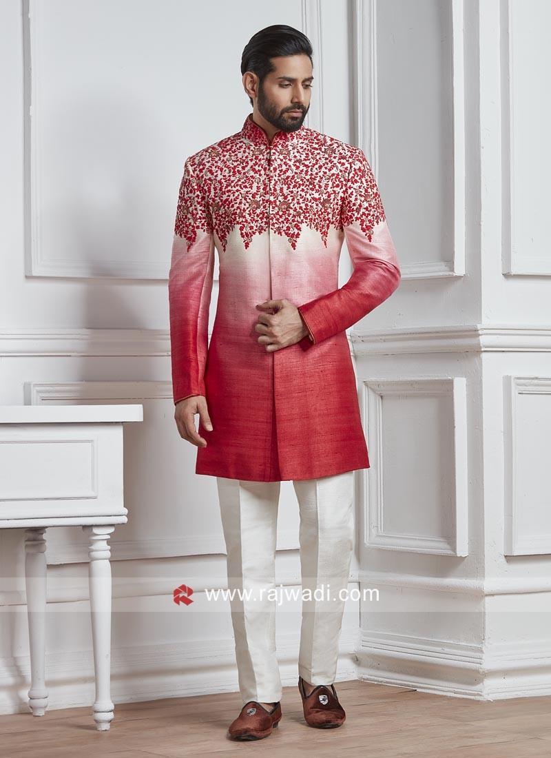 Silk Fabric Tometo and Off White Color Indo Western