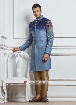 Groom Blue Color Indo Western