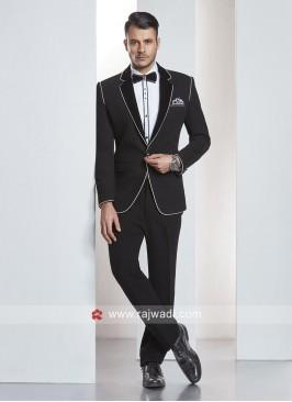 Stylish Black Imported Fabric Suit With Tuxedo Piping