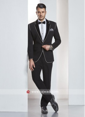 Stylish Black Imported Fabric Suit With Tuxedo Piping