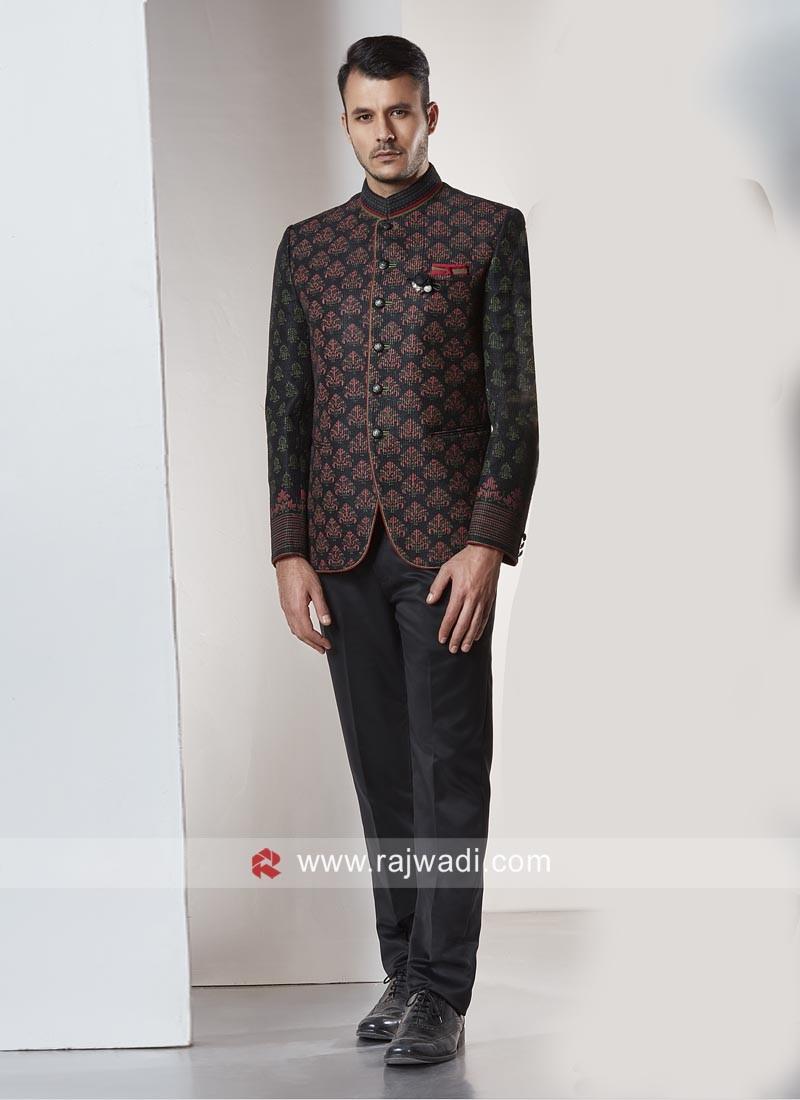 Attractive Black Color Jodhpuri Suit