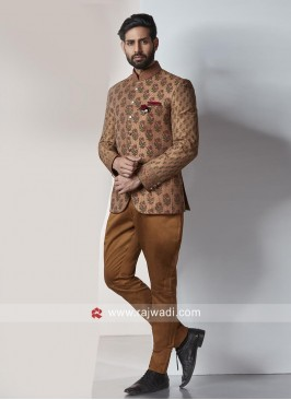 Brocade Silk Fabric Jodhpuri Suit