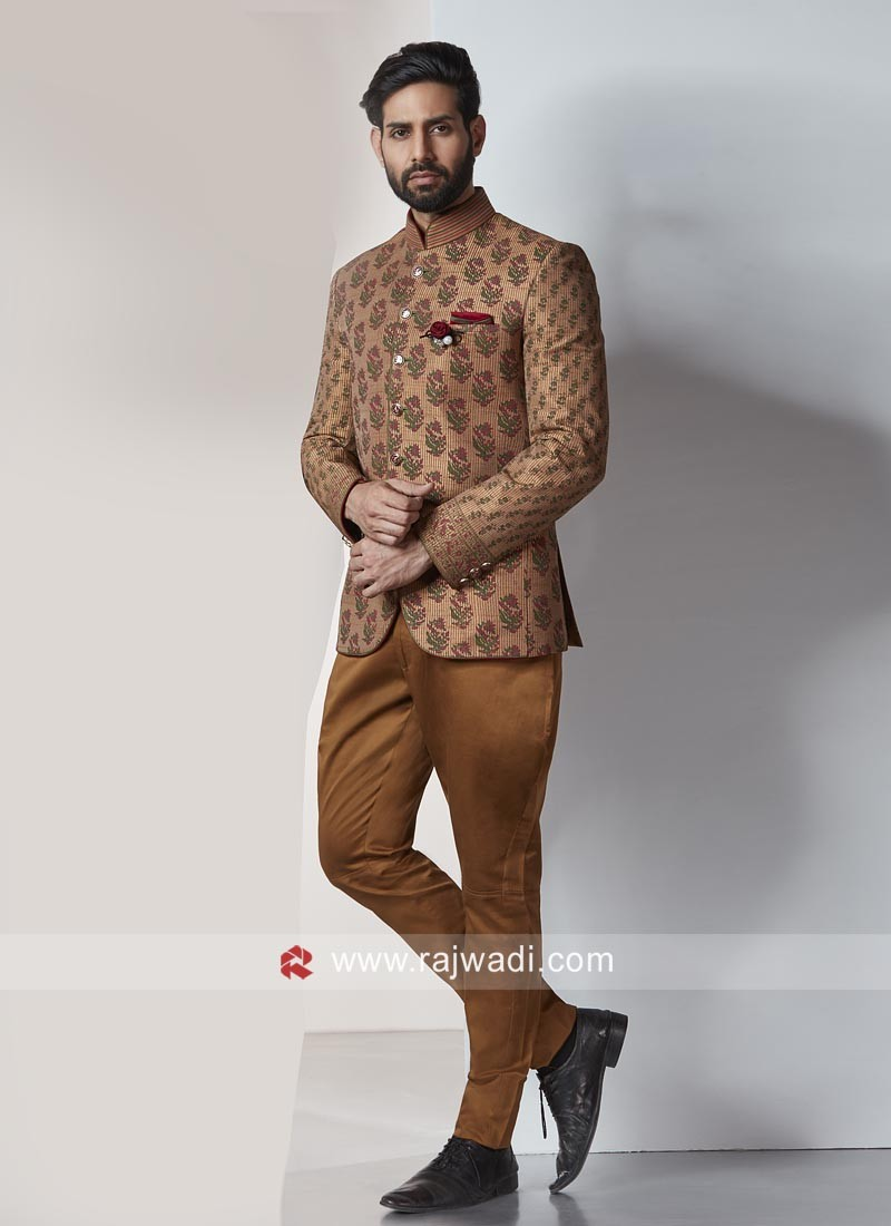 Brocade Silk Fabric Jodhpuri Suit