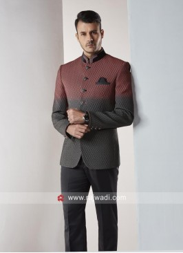 Stylish Peach and Grey Color Jodhpuri Suit