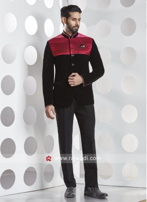Attractive Black and Red Color Jodhpuri Set