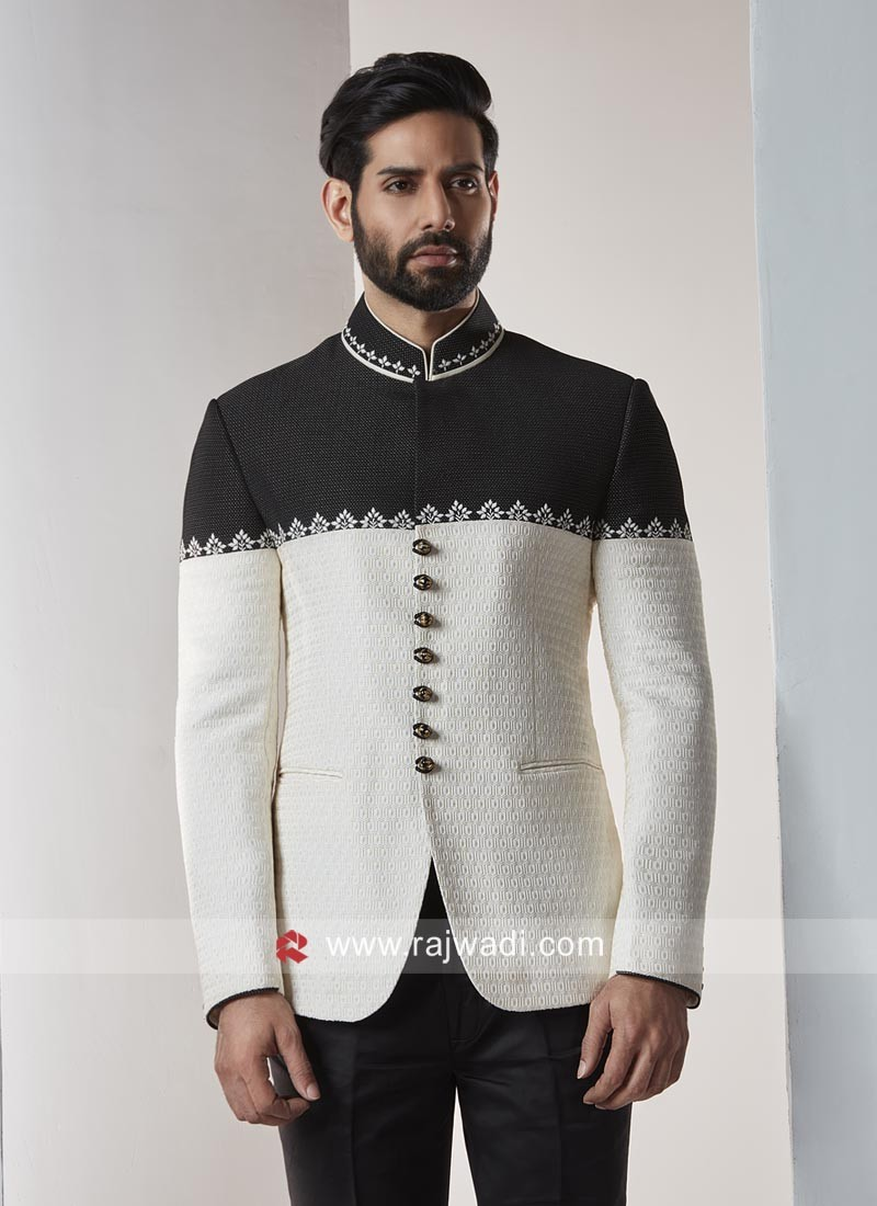 Stylish Brocade Silk Fabric Jodhpuri Set