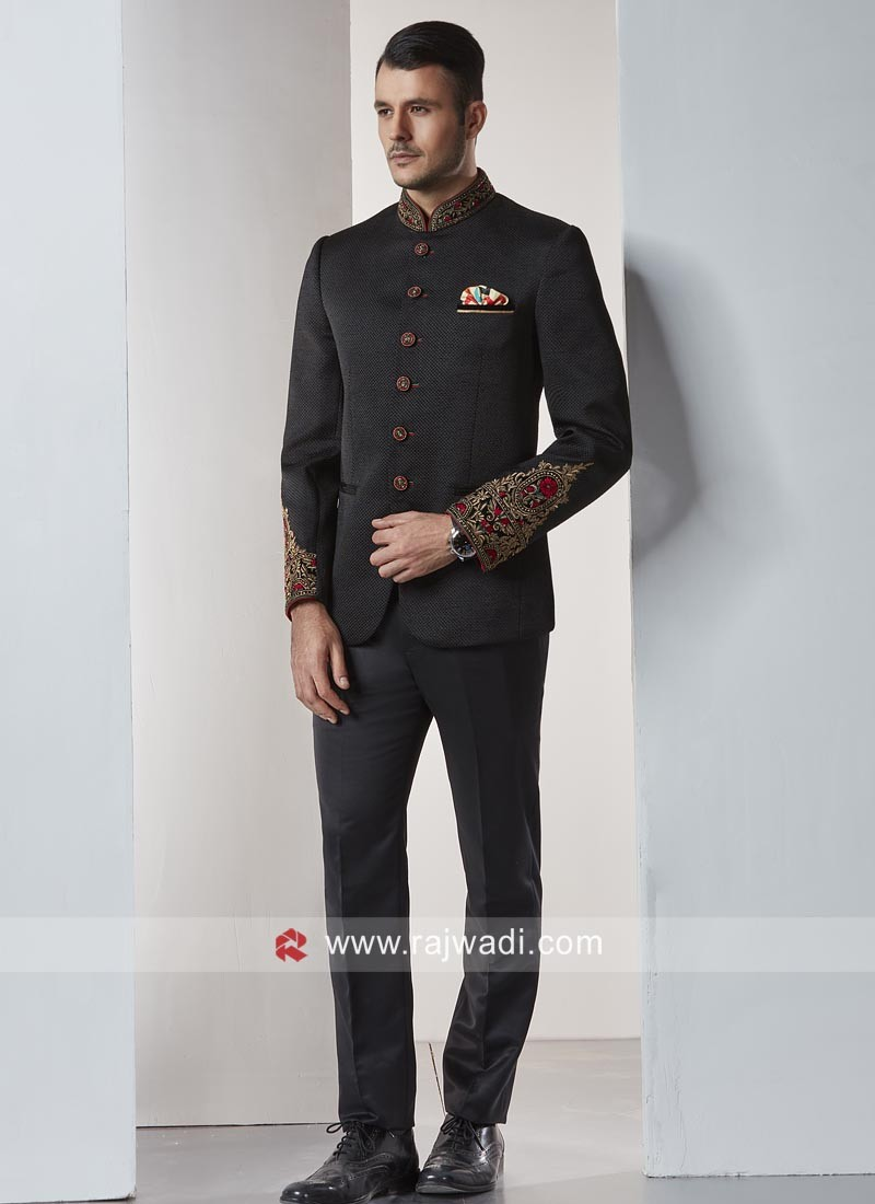 0399579be7 Stylish Jute Silk Jodhpuri Suit. Hover to zoom