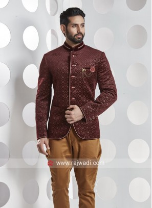 Attractive Wine Color Jodhpuri Set