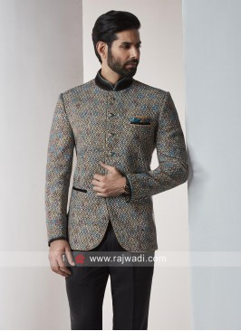 Party Wear Jodhpuri Suit In Dark Goldenrod