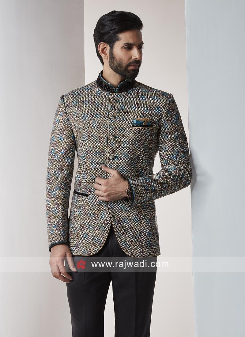 e0759bfc931 Party Wear Jodhpuri Suit In Dark Goldenrod. Hover to zoom