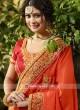 Embroidered Orange Wedding Sari