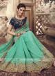 Art Silk Rama Green Saree