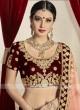 Bridal Maroon Lehenga Set with Light Peach Dupatta