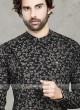 Cotton Kurta Pajama In Black & Cream