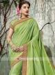 Pista Green Designer Saree with Tassels