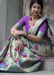 Kanjeevaram Silk Woven Saree in Sky Blue