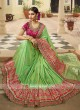 Traditional Heavy Work Saree in Pista Green