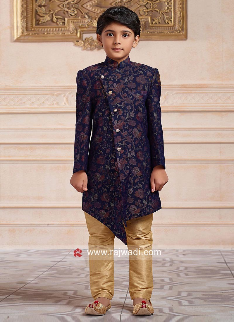 Blue Imported Fabric Indo Western For boys