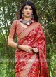 Red Wedding Saree with Border