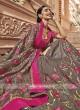 Raw Silk Flower Embroidered Saree