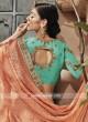 Chiffon Heavy Work Saree with Sky Blue Blouse