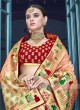 Peach Saree with Red Weaving Blouse