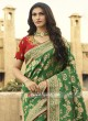 Green Heavy Saree with Contarst Blouse