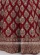 Velvet Lehenga Choli In Maroon Color