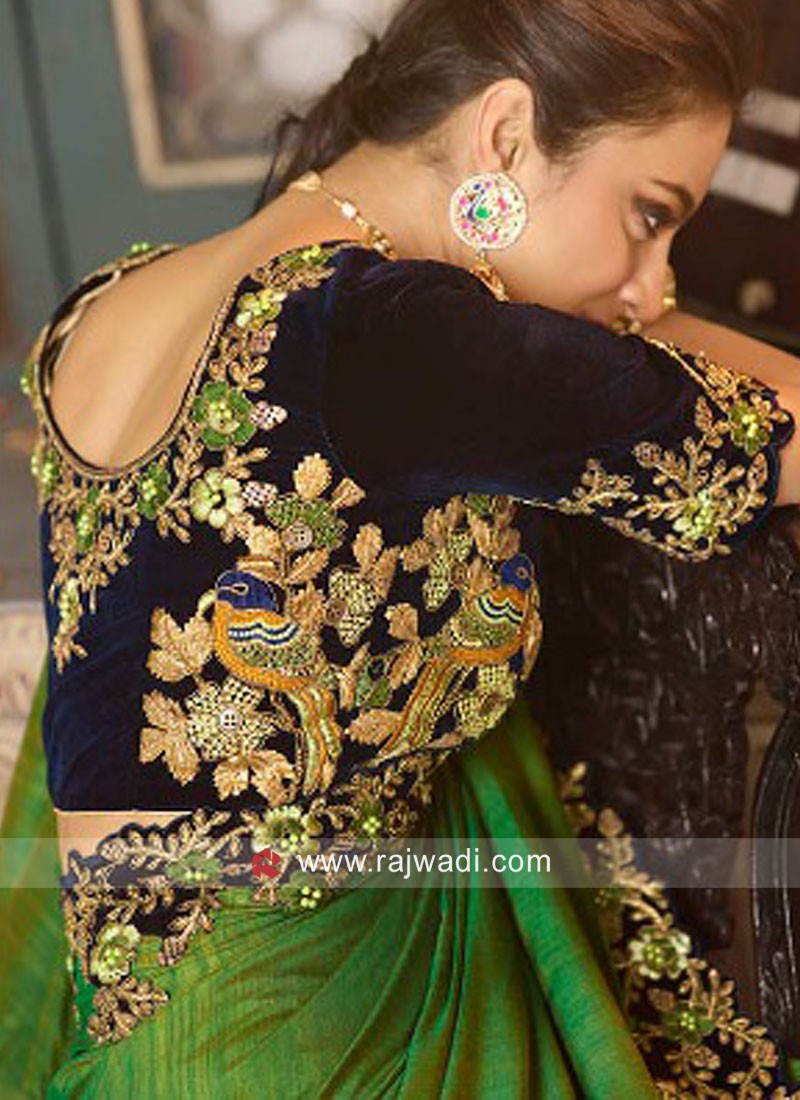 Exclusive Green Saree With Velvet Blouse
