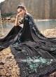 Black Designer Saree with Raw silk Blouse