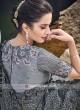 Designer Flower Work Net Saree in Dark Grey