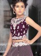 Wine color net fabric choli suit