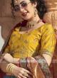 Blue and yellow lehenga choli with pink dupatta