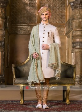 Emboss Fabric Off White Sherwani With Dupatta