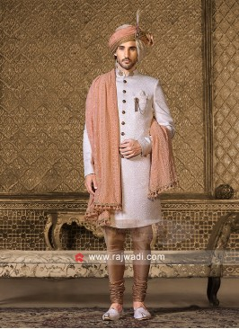 Off White Emboss Sherwani With Dupatta