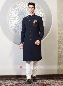 Blue Jute Silk Indo Western For Wedding