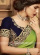 Satin Silk Border Work Sari with Velvet Blouse